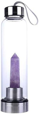 Zonster Natural Botella cristalina púrpura de Agua portátil Curación obelisco Varita Elixir Cristal de Cuarzo Botella de Agua de Regalos de cumpleaños de Cristal Copas