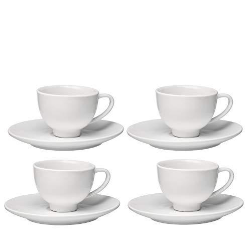 Francois et Mimi Set of 4 High-fire Pure White Porcelain Espresso Cup and Saucer