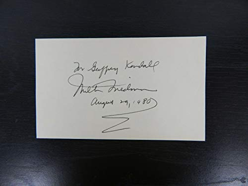 """Nobel Prize in Economics"" Milton Friedman Hand Signed 3X5 Card Todd Mueller COA from Unknown"