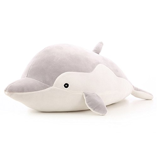 VSFNDB Dolphin Stuffed Animal Plush Toy 20 Inch Gray Large Stuffed Animal Hugging Pillow Cushion Stuff Dolls Sea Critters - Super Soft Cuddly Figures for Child Kids Gifts, Dolphin, Gray, 20Inches