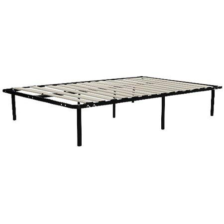 13 Inches High Bed Frame, Sturdy Steel Construction, Durable Laminated Wood Support System, No Box Spring Needed, Three Extra Support Legs, Ample Under Bed Storage Space, Multiple Size Options