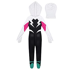 Agoky Kids Girls Toddler Spider Verse Miles Morales Gwen Jumpsuit Bodysuit Black Spider Tights Zentai Costume
