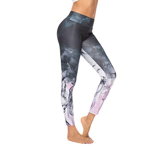 iHPH7 Yoga Pants Leggings Tummy Control Workout Pants for Women Digital Printed Yoga Pants Sports Bottom Pants Tight Sports L Black ()