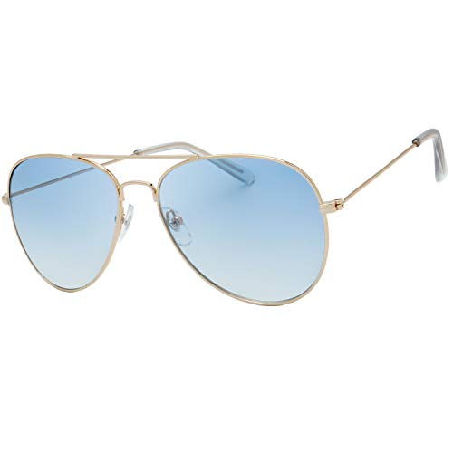 The Fresh Classic Large Metal Frame Mirror Lens Aviator Sunglasses with Gift Box (GOLD, Gradient Blue)