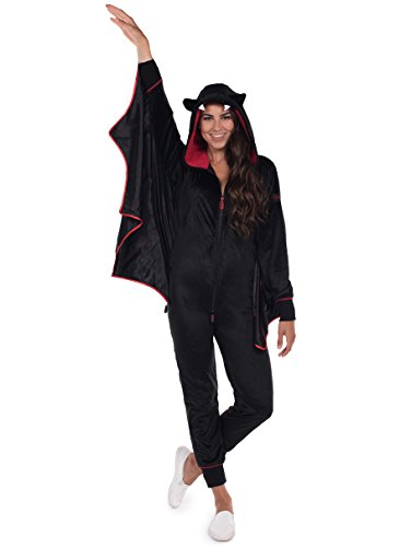 Tipsy Elves Women's Bat Halloween Costume - Cute Black Bat Jumpsuit: Large