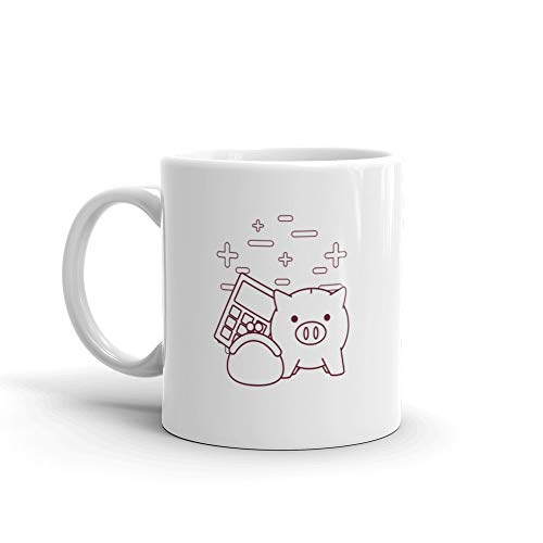 Piggy Bank And Money Related Icons Funny Mugs 11 Oz ()