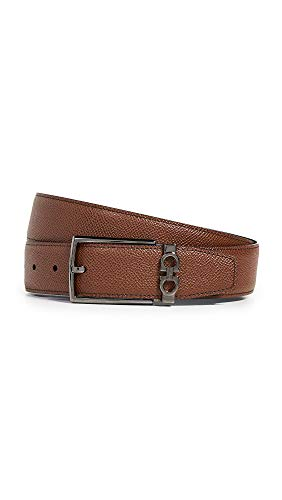 Salvatore Ferragamo Men's Classic Buckle Reversible Belt, Radica/Nero, Tan, Black, 34