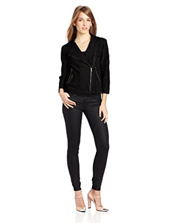 DKNYC Women's 3/4 Sleeve Cropped Motocycle Lace Jacket, Black, Small