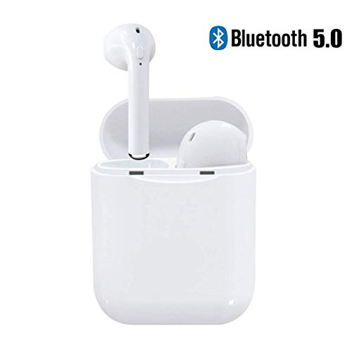 Bluetooth Headset, Wireless Headset Bilateral Call Bluetooth Headset 5.0 in-Ear Earphones Stereo in-Ear Microphone Built-in Handsfree Headphones for Apple Airpods Android iPhone White