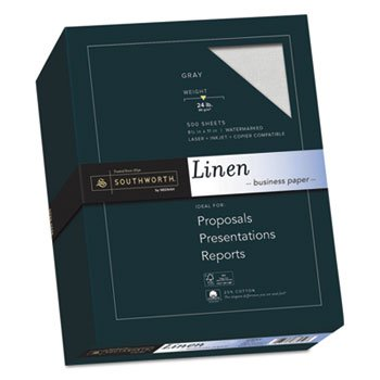 (25% Cotton Linen Business Paper, Gray, 24lb, 8 1/2 X 11, 500 Sheets)