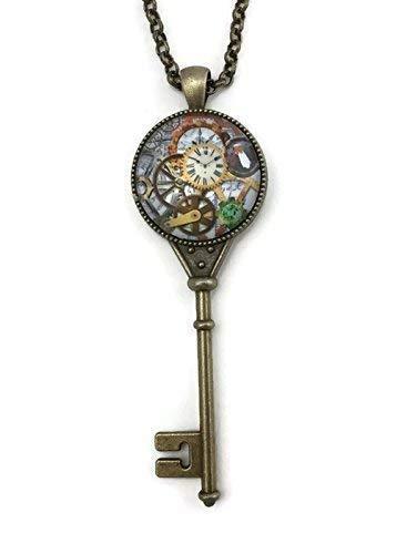 Steampunk Skeleton Key Necklace for Women - Glass Cabochon Pendant