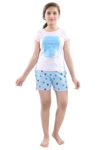 d8f0ea77b87 Juliet Cotton White & Blue Night Suit | Night Dress with Shorts for Girls:  Amazon.in: Clothing & Accessories