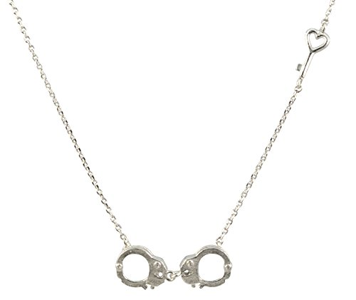 AppleLatte Handcuffs and Heart Key Necklace, Silver Plated Pendant