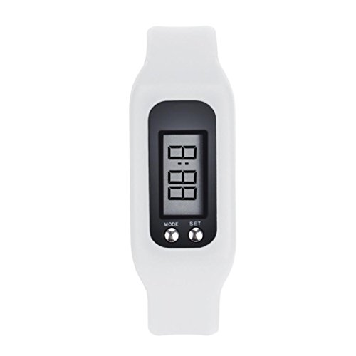 Pedometer, Boyiya Digital LCD Pedometer Run Step Walking Distance Calorie Counter Watch Bracelet (White)