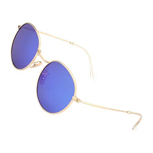 Unisexe soleil MEZ1 Homme Ronde avec Or Femme pour Lunettes protection Rétro de Cadre GQUEEN et Lennon 49mm polarisées Métal classiques Bleu Vintage UV400 q4HnZwE7x