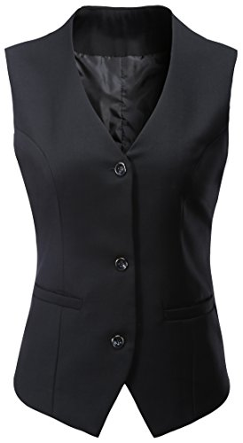 Vocni Women's V-Neck Sleeveless 3 Button Fully Lined Slim Fit Economy Dressy Suit Formal Vest Waistcoat,US S+ (Fit Bust 35