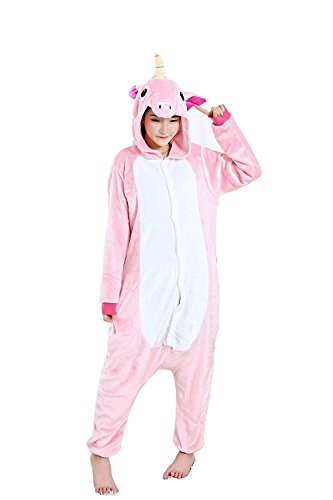 ABING Halloween Pajamas Homewear OnePiece Onesie Cosplay Costumes Kigurumi Animal Outfit Loungewear,Pink Unicorn Adult S -for Height 150-158cm - Unicorn Costumes Teen