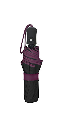 SMATI Folding Umbrella with a border - Auto Open&Close - SOLID - Windproof (Plum-black)