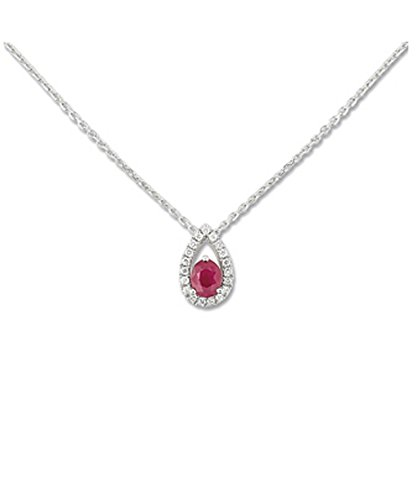 OR by Stauffer - Collier or gris 750/1000, Rubis et diamants by Stauffer