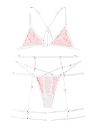 WDIRARA Women's Sexy Floral Lace Scalloped Trim Wireless Panty Lingerie Set White S