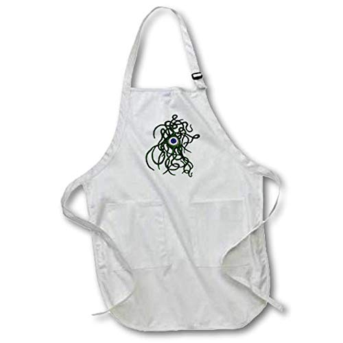 3dRose Taiche - Vector - Halloween Monster - Viral Bacteria Evil Eye Demon Cyclops Monster in Green - Black Full Length Apron with Pockets 22w x 30l -
