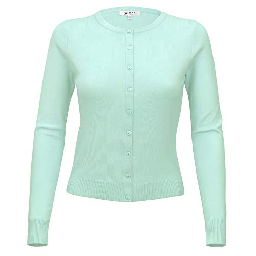 (YEMAK Women Long Sleeve Crewneck Button Down Casual Cardigan Sweater MK0179-IBL-L Ice Blue)