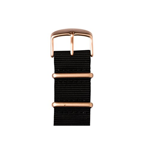 Roobaya | Premium Apple Watch Nato Nylon-Armband in Schwarz | inklusive farblich auf die Apple Watch abgestimmter Adapter, Gehäusefarbe:Aluminium Roségold, Größe:38mm