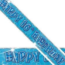 Blue Glitz Happy 16th Birthday 12ft Party Banner Parties Banners Decorations