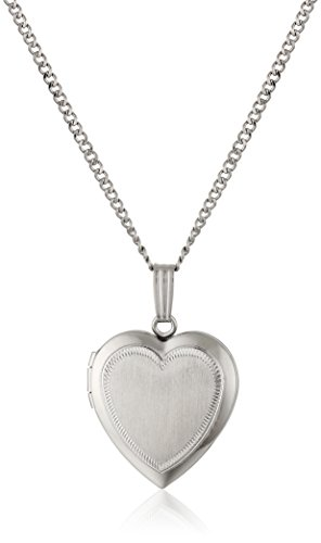 Sterling Silver Satin-Finish Engraved Heart Locket, 18""