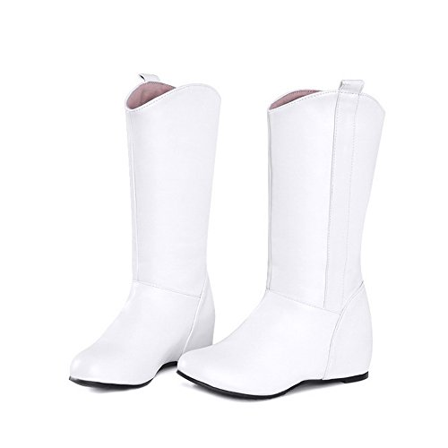 On Closed Solid Pull Material Women's Low White Allhqfashion Soft Toe Round Boots Heels cqF0zZwFT