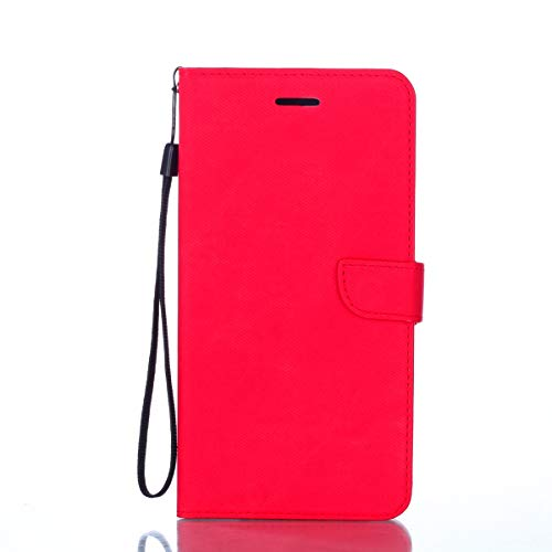 Price comparison product image Ostop Samsung Galaxy A7 2018 / A750 Stand Wallet Case, Bright Red PU Leather Phone Case, Cloth Pattern Credit Card Slots Magnetic Clasp Flip Book Simple Design Full Protection Cover for Girls Women