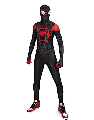 - Spider-Man Miles Cosplay Costume Into The Spideverse Costume Adult/Kid 3D Style (Kids-XS)