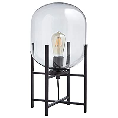 """Rivet Modern Table Lamp, 18.5""""H, With Bulb, Matte Black with Clear Glass Shade"""