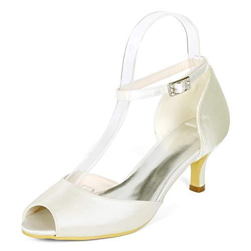 Peep Sandalen Satin Pumps Court 6cm Ivory Heels Toe Frauen Schuhe Hochzeit Abend Schnalle YC Mid L awxqCzEnTI