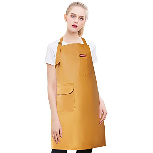 Waterproof PU Apron for Women and Men with Adjustable Straps and Pocket, Waterproof Apron for Dishwashing, Cooking, Garden, Kitchen, Universal Size, Yellow