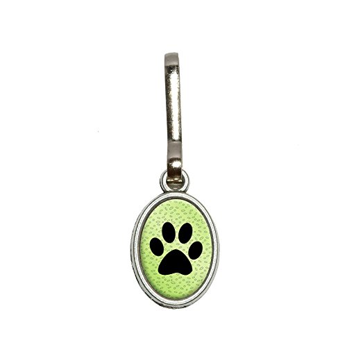Green Oval Charm (Graphics and More Paw Print of Awesomeness Green Antiqued Oval Charm Clothes Purse Luggage Backpack Zipper)