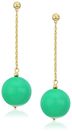 Kenneth Lane Resin Earrings - Kenneth Jay Lane Polished Gold Chain With Green Drop Post Drop Earring