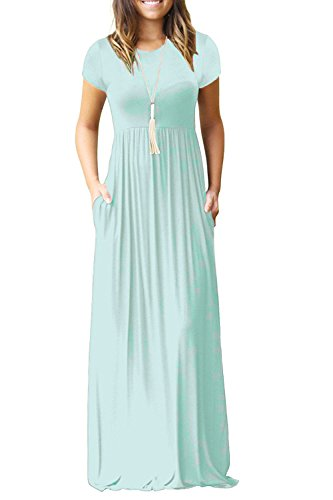 Women's Round Neck Short Sleeves A-line Casual Dress with Pocket Light Mint Medium