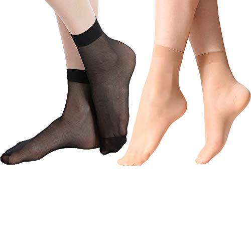 MANZI 12 Pairs Women's Ankle High Sheer Socks (6 Pairs Black,6 Pairs Natural)