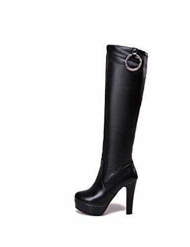 Shoes Western High Knee heel high Boots Black Charm Mee Platform 4FdwSS