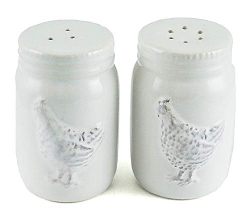 (Farmhouse Rooster Embossed Ceramic Salt & Pepper)