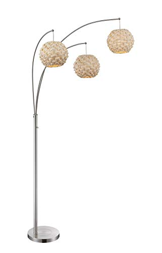 3 Light Arch Lamp with Bamboo Shade