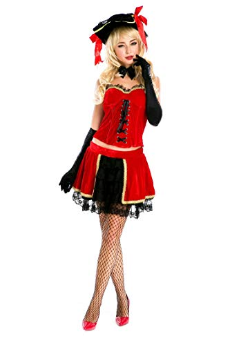 Simmia Halloween Costumes Halloween Queen Pirate Costume European Queen Costume Role-Playing Costume Night Singer Stage Performance Clothing, red, U ()