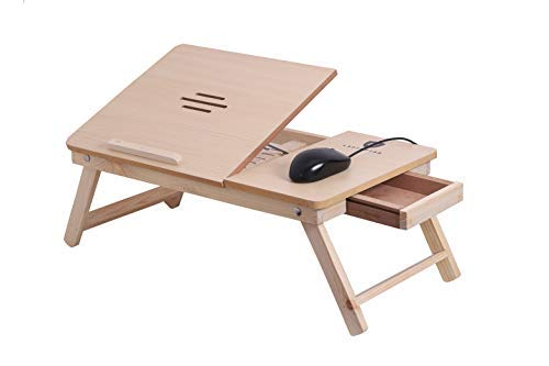 LAPTOPTAB's Light Brown Adjustable & Portable Laptop Table for Study/Reading/Eating with Drawer