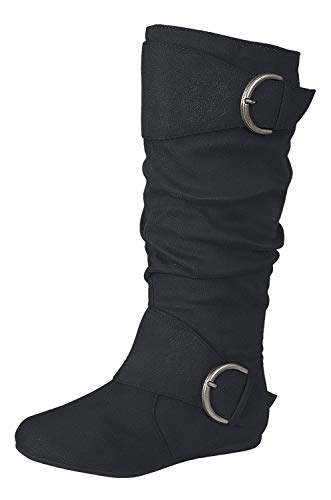 Forever Link Klein-70 Women's Closed Round Toe Buckle Slouch Flat Heel Mid-Calf Boot,Black,10