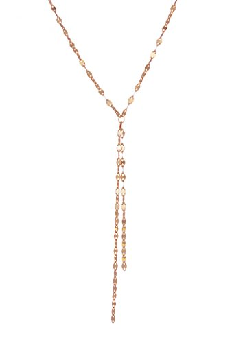 Rose Gold over 925 Sterling Silver Tassel Y Necklace Lariat in Shimmery