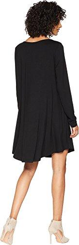 Américain Rose Femmes Manches Longues Elin Entrecroisement Robe Noire