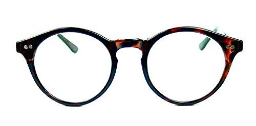50's Vintage Retro Style Oval Round Clear Lenses Eyeglasses Keyhole (Tortoise, ()