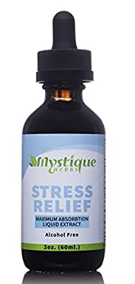 Mystique Herbs - Stress and Anxiety Relief Herbal Extract – 100% Natural, Vegan & Kosher – Maintain Focus, Reduce Stress and Relax - Non-GMO/Nut Free/Dairy Free/Gluten Free