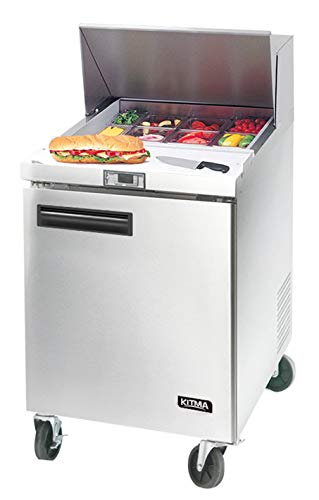 Sandwich Prep Table One Door Refrigerator, Kitma 28 Inch Commercial Salad Prep Table Refrigerated with 8 Pans - Sandwich 1 Door